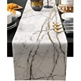 Marble Table Runner-Cotton linen-Long 108 inche White Gray Gold Dresser Scarves,Texture Tablerunner for Kitchen Coffee/Dining