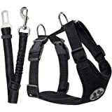 SlowTon Dog Car Harness Seatbelt Set, Pet Vest Harness with Safety Seat Belt for Trip and Daily Use Adjustable Elastic Strap