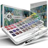 GenCrafts Watercolor Palette with Bonus Paper Pad Includes 48 Premium Colors - 2 Refillable Water Blending Brush Pens - No Me