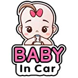 2 Pieces Baby in Car Stickers Sign and Decal for Girl, Baby Car Sticker, Removable Safety Sticker Notice Board, Cute Baby Win