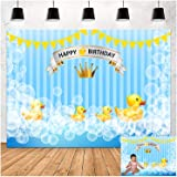 Blue Bubble Cute Little Yellow Duck Happy Birthday Theme Photography Backdrops Children Boys or Girl Baby 1st Birthday Photo