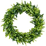 """LASPERAL 14"""" Artificial Green Leaves Wreath Eucalyptus Wreath Boxwood Wreath Round Green Wreath Outdoor Green Wreath Front Do"""