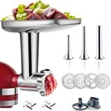 Stainless Steel Food Grinder Attachment for KitchenAid Stand MixerDurable Meat Grinder, Including2 Sausage Stuffer Dishwasher
