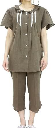 [パジャマ工房] レディース パジャマ 半袖 前開き 衿付き 綿100% 二重ガーゼ(ダブルガーゼ) [802] Mパープル