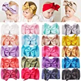 DeD 20 Pieces 6 Inch Soft Elastic Nylon Headbands Hair Bows Headbands Hairbands for Baby Girl Toddlers Infants Newborns