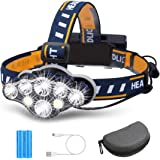 Rechargeable Headlamp, OUTERDO 8 LED Headlamp Flashlight 13000 Lumens 8 Modes with USB Cable 2 Batteries, Waterproof LED Head