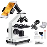 MAXLAPTER 顕微鏡 100~1000倍 移動式ステージ スライドグラス 小学生 生物標本 実体 花粉 宝石 子供用 自由研究用 学校 学習用 スマホ 撮影 高倍率 観察用具付属 日本語説明書付き 生物学教育 夏休み