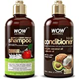 WOW Apple Cider Vinegar Shampoo and Hair Conditioner Set Increase Gloss, Hydration, Shine, Reduce Itchy Scalp, Dandruff & Fri