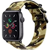Fintie Band Compatible with Apple Watch 44mm 42mm, Lightweight Breathable Woven Nylon Sport Loop Wrist Strap with Metal Buckl