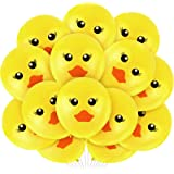 60 Pieces Yellow Duck Latex Balloons Cartoon Duck Printed Balloons Cute Duck Face Latex Balloons for Wedding Birthday Party B
