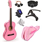 (Standard) - NEW 80cm Pink Wood Guitar with Case and Accessories Great Gift for Kids / Girls / Beginners (Standard)