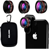 NELOMO スマホ用カメラレンズ 230°超広角 マクロレンズ スマホ 魚眼レンズ 高画質 独特の合金クリップ iphone X 8 plus 7 7 plus Sharp Sony タブレットPCなど対応 (黒い)