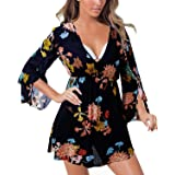 Aliling Women's Ruffle Sleeve Tunic Dress V Neck Floral Loose Beach Cover Up