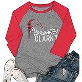 MYHALF You Serious Clark Raglan Sleeve T Shirt for Women Buffalo Plaid Christmas Hat Cute Graphic Print Baseball Tees Top