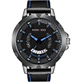 KONXIDO 腕時計 メンズ 日本製クォーツムーブメント レザーベルト 日付表示 アナログウォッチ 男性 うで時計 メンズ 防水腕時計 カジュアル ビジネス ファッション ブルー