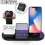 ワイヤレス充電スタンド 3in1 Apple スタンド 置くだけ充電 iPhone/Apple Watch/Airpods 充電器 5W/7.5W/10W出力 Qi対応機種適用 家族用 ブラック【改善版】 (充電スタンド)