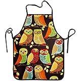 Liubajsdj-Waist Adjustable Professional Kitchen Apron-Fall Owls -Woman Aprons Comfortable Perfect for Cooking Guide