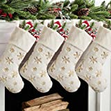 Meriwoods Christmas Stockings 4 Pack 19 Inch, Large Faux Fur Xmas Stocking with Gold Sequin Snowflakes for Family, Country Ru