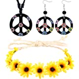 3 Pieces Hippie Costume Set, Includes Flower Crown Headband, Peace Sign Necklace and Peace Sign Earrings 60s 70s Dressing Acc