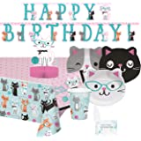 Aloha Sugar Cat Party Supplies and Decorations - Kitty Cat Plates Cups Napkins for 16 People - Includes Banner, Tablecloth an