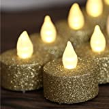 Battery Operated LED Tea Lights, Gold Flameless Votive Tealights Candle with Warm White Flickering Bulb light,Pack of 24,Smal
