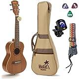 Concert Ukulele Bundle, Deluxe Series by Hola! Music (Model HM-124MG+), Bundle Includes: 24 Inch Mahogany Ukulele with Aquila