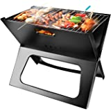 Moclever Foldable Charcoal Grill, Space-Saving & Portable BBQ Barbecue Grill, Large Grilling Surface and Capacity Grill for C