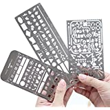 Pack of 3 Stainless Steel Drawing Ruler Painting Stencils Scale Template Sets Graphics Stencils Number Template Ruler Stencil