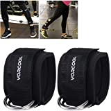 VORCOOL 2PCS Ankle Straps for Cable Machines Weightlifting Gym Workout Fitness Double D-Ring Neoprene Padded Ankle Cuffs for