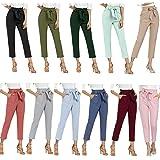 Freeprance Women's Pants Casual Trouser Paper Bag Pants Elastic Waist Slim Pockets