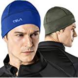 TSLA Men and Women (Pack of 1, 2) Thermal Fleece Lined Skull Cap, Winter Ski Cycling Cap Under Helmet Liner, Cold Weather Run