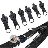 6PCS Zipper Repair Kit Universal Zipper Fixer with Metal Slide 3 Different Zipper Sizes for 3# 5# and 7# Zippers, Instant Zip