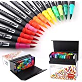 100 Colors Dual Tip Brush Pens with Fine Liners Brush Tip for Coloring Books, Drawing, Painting,Calligraphy Bullet Journal HO