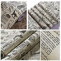 YizunnuPVC 60×300cm 壁紙 新聞絵柄 厚手 防水 改装 デコレーション リメイクシート シート 小物装飾 包装紙 新聞紙絵柄 子供部屋 書斎 飾り シール式 ポスター