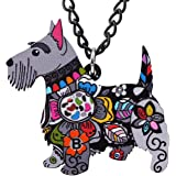 NEWEI Acrylic Floral Scottish Terrier Dog Necklace Chain Pendant Choker Fashion Animal Pet Ornaments Jewelry for Women Girl G