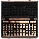"""A&A 15"""" Folding Wooden Chess & Checkers Set w/ 3"""" King Height Chess Pieces / 2 Extra Queen/German Knight Staunton Wooden Ches"""