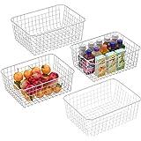 Wire Basket, Cambond 4 Pack Wire Baskets for Storage Durable Metal Basket Pantry Organizer Storage Bin Baskets with Handles f