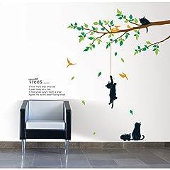 壁紙シール 猫と木