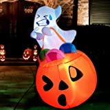 Joiedomi 5 FT Tall Halloween Inflatable Cute Ghost Inflatable Lift Pumpkin Candy Bag with Build-in LEDs Blow Up Inflatables f
