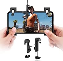 PUBG Mobile 荒野行動コントローラー ゲームパッド ゲームハンドル 射撃ボタン 押しボタン&グリップ 感応射撃ボタン サイズ調節可能ハンドル 人間工学設計 優れたゲーム体験を実現 iPhone/Android 各種ゲーム対応可能【DIVI】(ブラック)