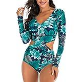 Yateen Women's Zip Front Printed Swimwear One Piece Long Sleeve Rash Guard UV Protection Surfing Swimsuit