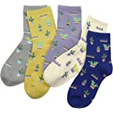 BLACOCO Cute Women's Plant Patterned Crew Sock Knit Cotton Casual Ankle Socks
