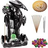 Handmade Backflow Incense Burner Ceremic Incense Holder Aromatherapy Ornament Home Decor with 90 Incense Cones & 50 Incense S