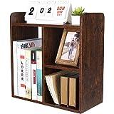 PAG Desktop Bookshelf Freestanding Countertop Bookcase Wood Desk Organizer Literature Photo Display Rack, Brown