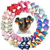 24Pcs Pinwheel Hair Bows for Girls 4.5 Inch Colorful Grosgrain Ribbon Rainbow Bows Alligator Hair Clips Pigtail Bows in Pairs