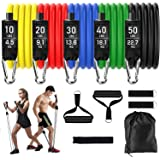 Resistance Bands Set, Warmoon 11 Pieces Exercise Resistance Bands Includes 5 stackable for Men & Women, Fitness Bands with Ha