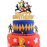 (Power Rangers) - Acrylic Power Rangers Happy Birthday Cake Topper, Power Rangers Cake Topper, Boys and Girls Birthday Party