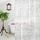 Clear Shower Curtain Liner, AooHome EVA Cobblestone Pattern Bathroom Curtain with Hooks, Mildew Resistant, Waterproof, 180cm