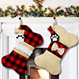 AerWo 2 Pcs Pet Dog Christmas Stockings, Buffalo Plaid Large Bone Shape Pets Stockings for Dogs Christmas Decorations.