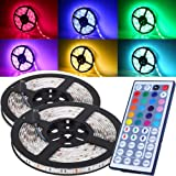 Ezonedeal 16.4FT SMD 5050 Waterproof 300LEDs RGB Flexible LED Strip Light Lamp Kit + 44Key IR Remote Controller(Power Supply